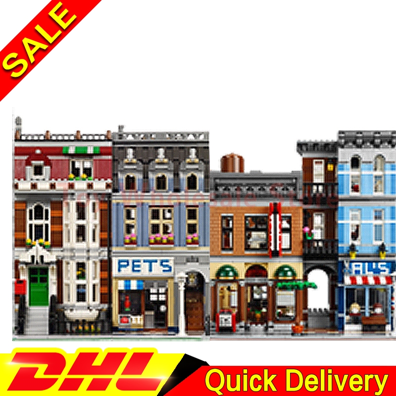 Lepin 15009 Pet Shop Supermarket + Lepin 15011 Detective's Office Model Building Street Sight Blocks Bricks Toy 10218 10197 a toy a dream lepin 15008 2462pcs city street creator green grocer model building kits blocks bricks compatible 10185