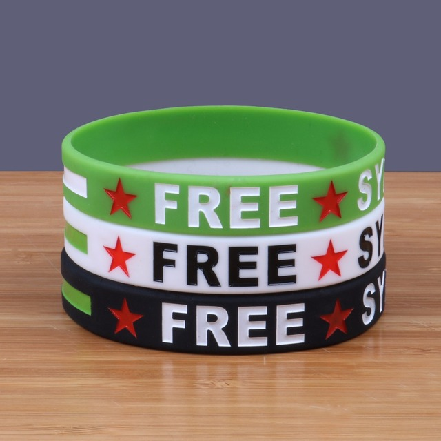 3pcs Lot Free Syria Silicone Bracelets Custom Ink Filled Colour Wristbands