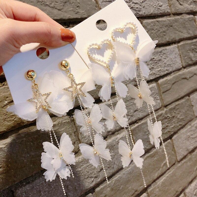 Korean New Luxurious Butterfly Rhinestone Dangle Earring Fashion Star Heart Long Tassel Earring for Women Party Jewelry