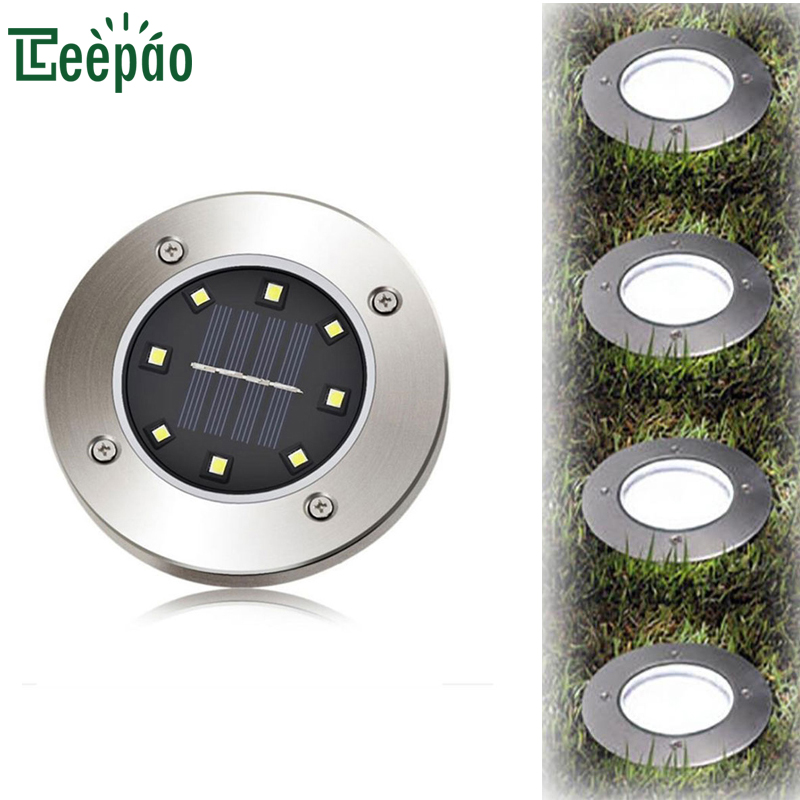 Outdoor Waterproof LED Solar Light 8Leds Solar Powered LED Lamp Garden Lawn Path Floor Underground Lights White Warm White ...