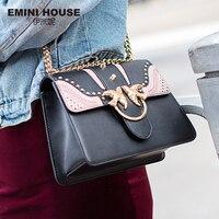 EMINI HOUSE Split Leather Bags Women Messager Bags Crossbody Bag For Women Flap Chain Rivet Shoulder