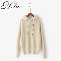 H SA 2017 Autumn Winter Women Pullover And Sweaters Hooded Jumpers Femme Korean Style Loose Sweater