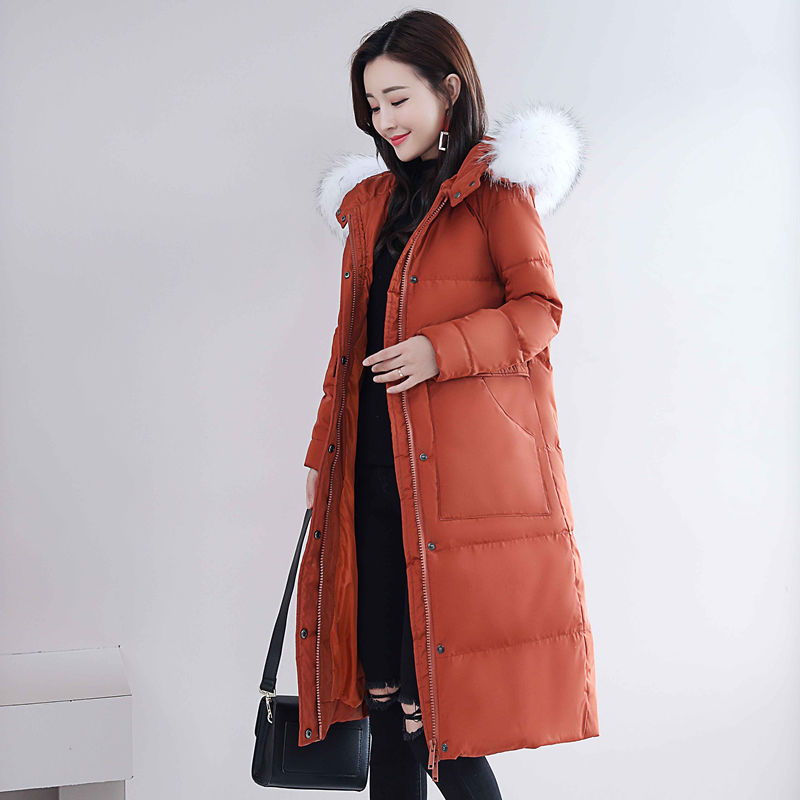 Plus Size 3XL Big Fur Collar White Duck Down Jacket Women Hooded Thicken Warm Winter Jacket Coat Women Long   Parka   Mujer C5024