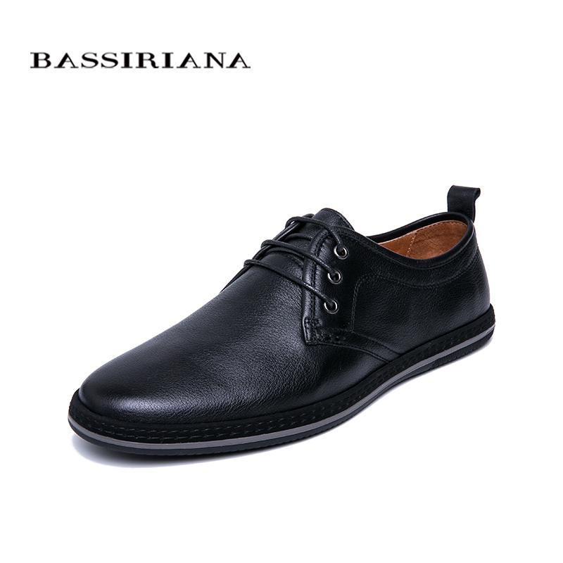 BASSIRIANA New 2019 Genuine Leather men casual shoes lace up comfortable round toe spring autumn Black