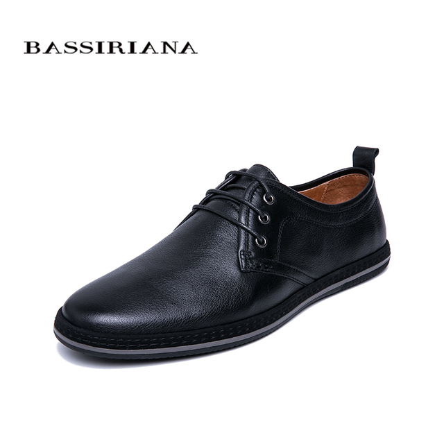 BASSIRIANA/Новинка 2019 г. мужская повседневная обувь из натуральной кожи на шнуровке, удобная обувь с круглым носком, весна-осень, черный, темно-синий цвет, размер 39-45