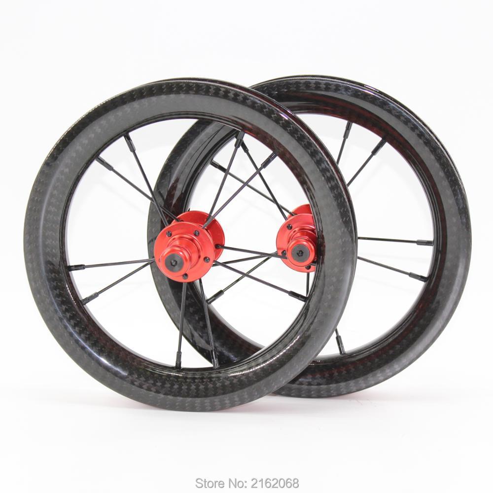Date 12 pouce 25mm Glisser voiture scooter push vélo sergé 3 k pleine fiber de carbone vélo de roues de carbone pneu jantes 12er bateau Libre