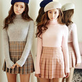 2017 New Spring high waist ball pleated skirts Harajuku Mori girls Plaid a-line sailor skirt Plus Size Japanese school uniform