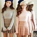 2017 Nova Primavera bola de cintura alta saias plissadas Harajuku Mori meninas Plaid a-line saia marinheiro Plus Size uniforme escolar Japonês
