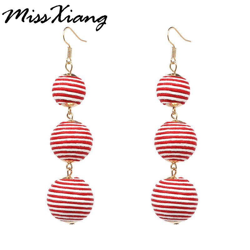 MissXiang 2017 Fashion 3 Tier Ball Pom Pom Statement Earrings Long Pendientes Tassel Dangle Earrings For Women Vintage Earring ...