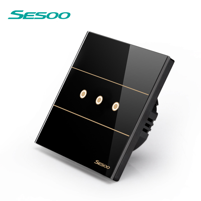 SESOO Remote Control Switches 3 Gang 1 Way, SY5-03 Black, Wall Touch Switch,Crystal Glass Switch Panel smart home eu touch switch wireless remote control wall touch switch 3 gang 1 way white crystal glass panel waterproof power