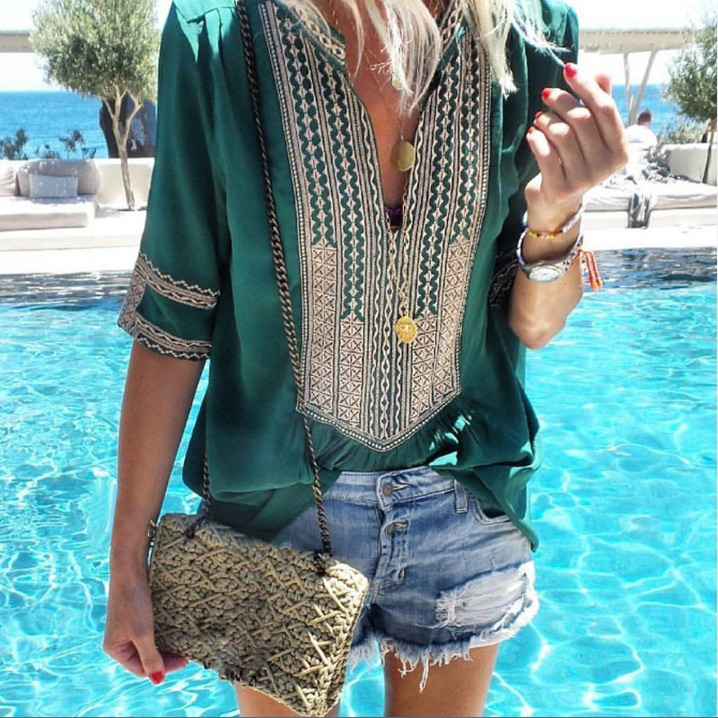 Women Vintage Retro V-neck Boho Shirt Summer Half Sleeve ethnic print sea beach wear holiday vacation Traditional Blouse