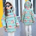 2016 Novo casaco de Inverno das crianças jaqueta meninas jaqueta de impressão flor grande virgem meninas thicking casaco de algodão quente para o frio inverno