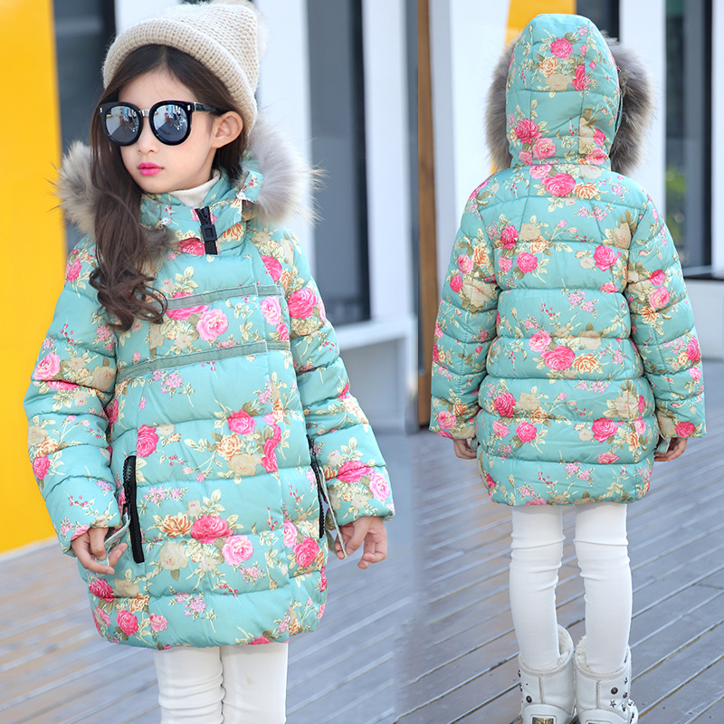 2018 New Winter children's coat jacket girls big virgin printing flower jacket girls thicking warm cotton coat for cold winter