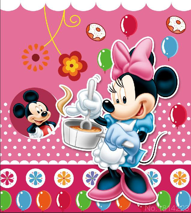 3x5ft Minnie Cocinar Mickey Mouse Pink Pared Del Beb