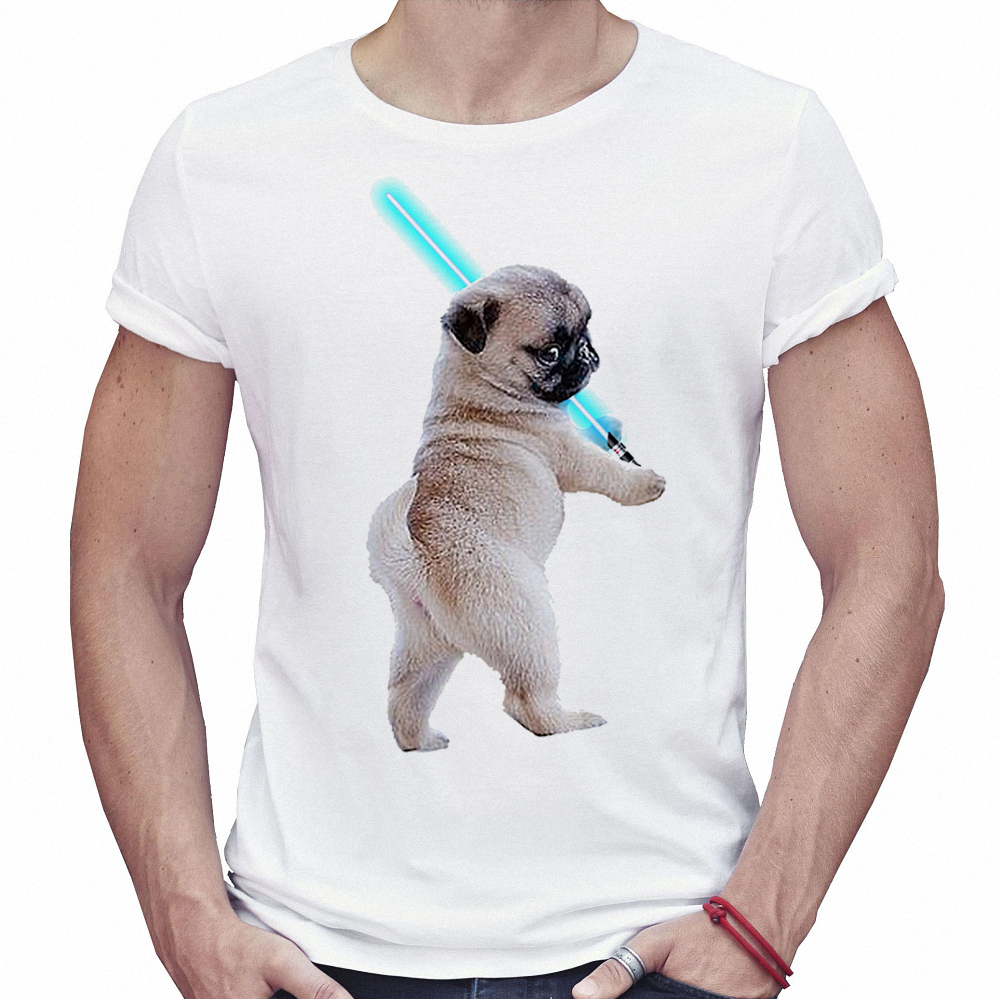 2018 Summer Men T Shirt Brand Fashion Casual White Pug With Lightsaber Cute Tee Shirt Boys Short Sleeve T-shirts