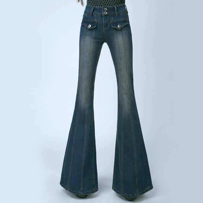 7585531ad50 ... Women Plus Size High Waist Slim Leg Flared Jeans Female Bell Bottom  Bootcut Trouser Ladies Sexy ...