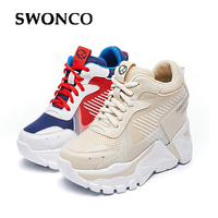 SWONCO Women Shoes Red Platform Sneakers 2019 New Female Chunky Wedge Casual Shoes For Woman Sneakers Hided Heels Shoes Women