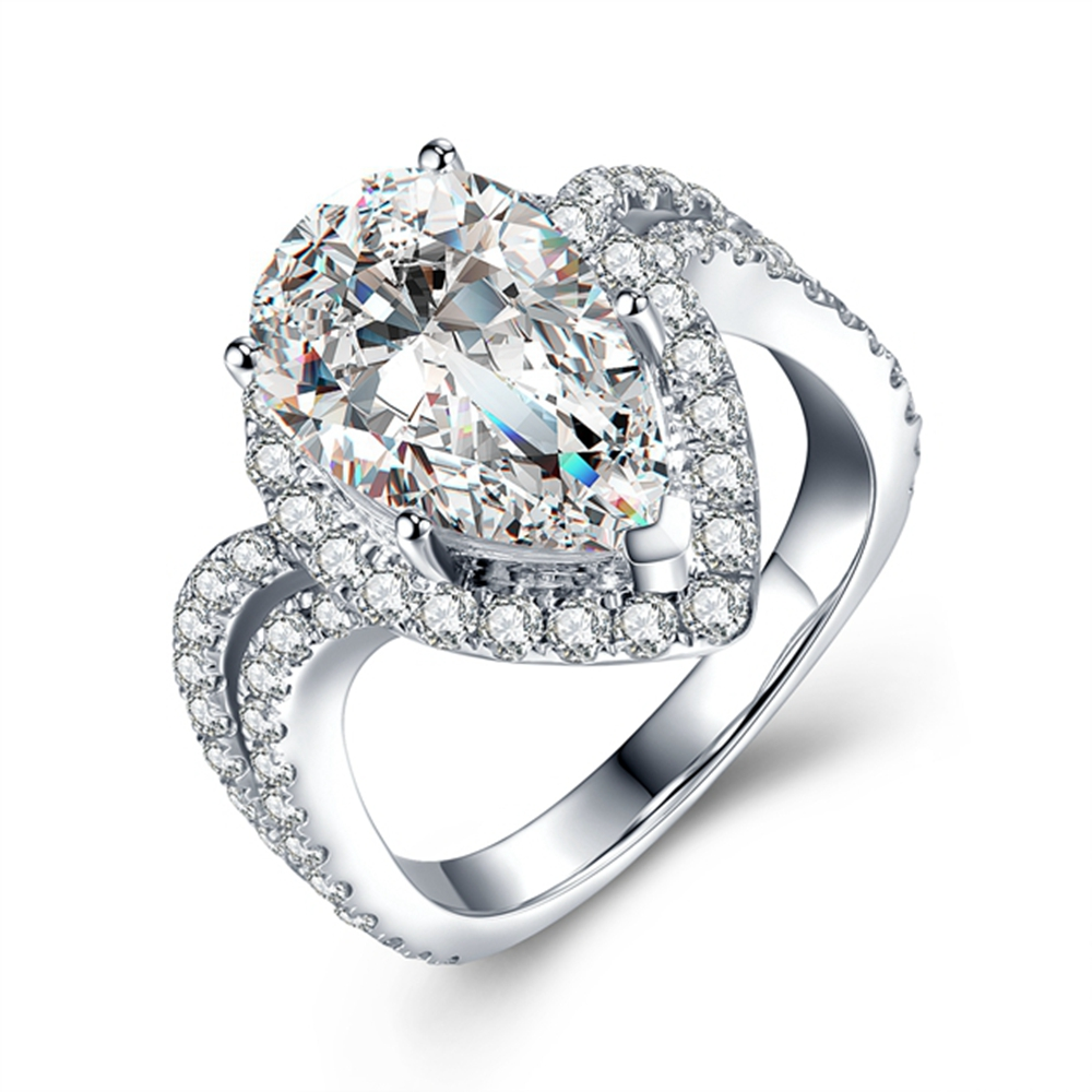 3.6 CT Carat Lab Grown Moissanite Diamant Anneau Solide 14 k Or Blanc de Fiançailles Bague Anniversaire DEF Couleur Forme de Poire 3EX & VVS1