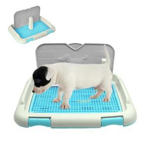 Bandeja de tocador portátil para mascotas, perros y gatos, con columna, tazón para urinario, inodoro de entrenamiento para orina-40