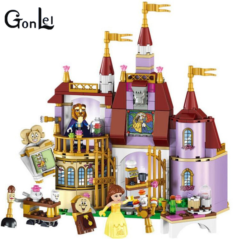 (GonLeI)  Princess Belle's Enchanted Castle Block set Beauty and The beast Compatible with 41067 Girls Toy aladdin and the enchanted lamp stage 1 cd rom