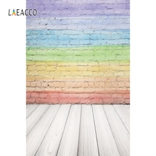 Laeacco Rainbow Brick Wall Gradient Wooden Board Baby Photography Backgrounds Customized Photographic Backdrops For Photo Studio