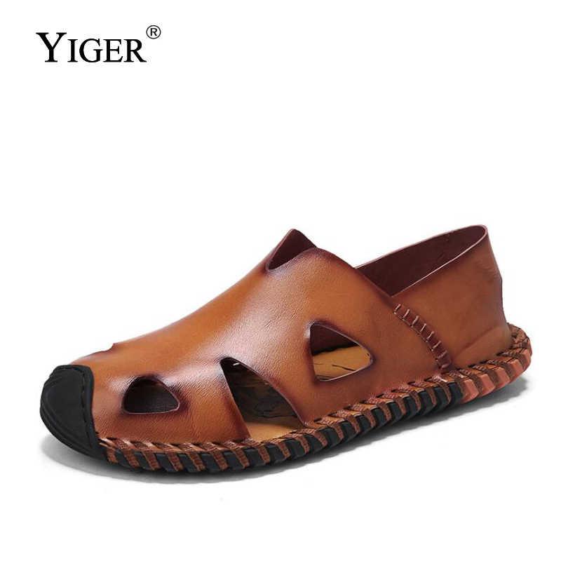 YIGER Yeni Erkek Sandalet Hakiki Deri Büyük Boy Erkek Eğlence Sandalet Erkekler Rahat Yaz plaj sandaletleri Kahverengi/Siyah/Sarı 0085