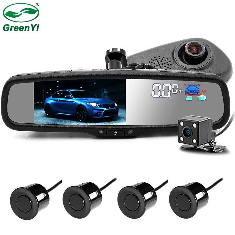 """GreenYi автомобиля Видео парковочный радар Сенсор с 1920×1080 P 5 """"зеркало автомобиля DVR Парковка монитор Двойной объектив с оригинальный кронштейн"""