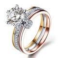 Three-tone Gold Diamond Ring For Women 1 Carat Round Cut Moissanites 14K White Gold Lab Grown Diamond Engagement Wedding Ring
