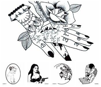Old School Style Rose Dagger  Stabbed My Hand  Vintage Temporary Tattoo Sticker Body Art Water Transfer fake tattoo 6X6cm line art