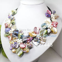 Wholesale free shipping >>fashion Mix color mother of pearl shell weave flower necklace 18'' jewelry gem