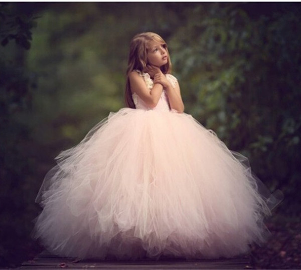 Hot Sale New Pink Flower Girl Dress Sleeveless Lace Beading Hollow Back for Weddings Girls First Communion Gown Real Images hot sale halter beading sequins short homecoming dress
