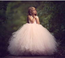Hot Sale New Pink Flower Girl Dress Sleeveless Lace Beading Hollow Back for Weddings Girls First