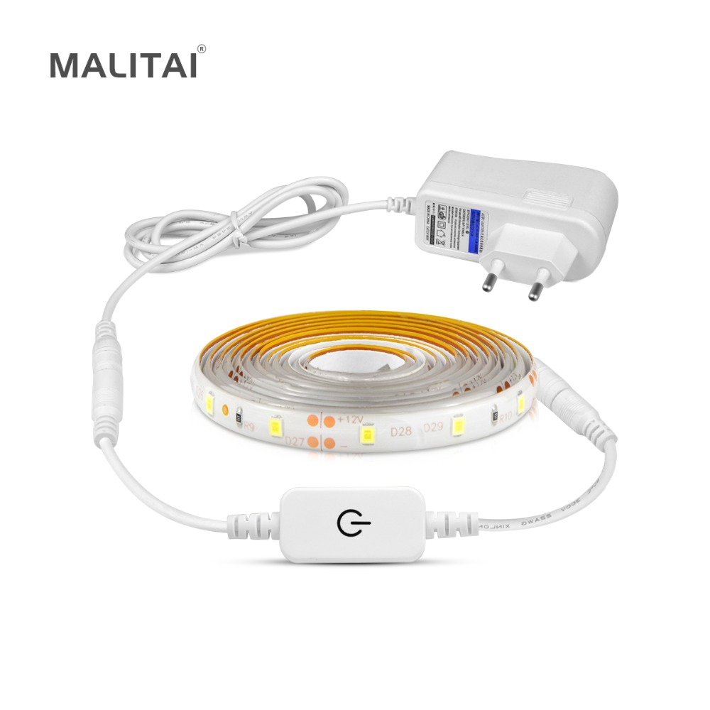 Flexible Touch Switch Sensor LED Under Cabinet light 1M 2M 3M 4M 5M Dimmable LED Wardrobe lamp Tape Closet Kitchen lighting Under-cabinet lighting