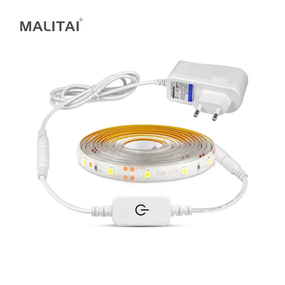 Flexible Touch Schalter Sensor LED Unter Kabinett licht 1 Mt 2 Mt 3 Mt 4 Mt 5 Mt Dimmbare led-lampe Kleiderschrank Band Schrank Küche beleuchtung