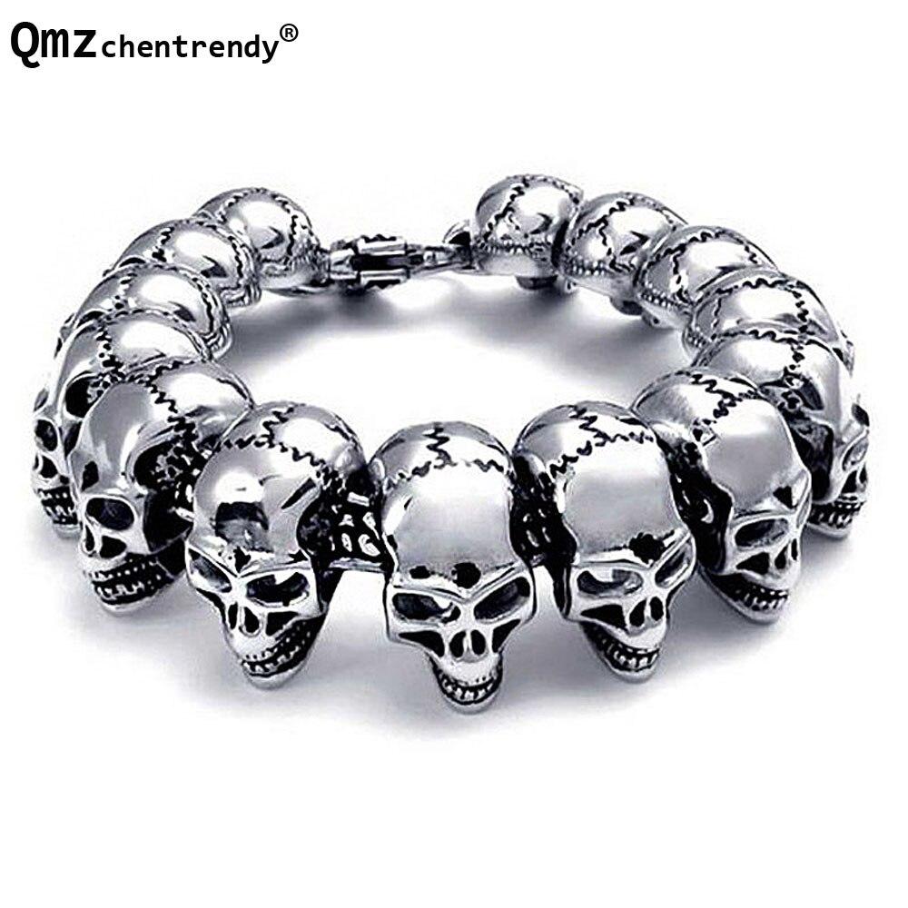 Titanium Men Punk Bracelets Stainless Steel Skull Cool Bracelet Pulseras Wristbands Bangle Vintage Jewelry Brace lace 3 Bangle
