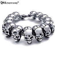 Titanium Men Punk Bracelets Stainless Steel Skull Cool Bracelet Pulseras Wristbands Bangle Vintage Jewelry Brace lace 3 Bangle