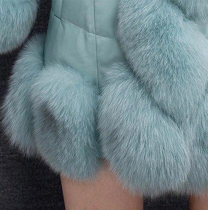 Taille Vêtements long Patchwork Moyen Pu 2015 Épaississement Manteau Grande 4xl Fourrure Femme S Renard De Z7URT