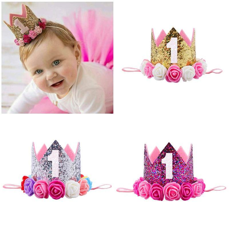 Girls Birthday Decor Flower Party Crown Hairband Priness Party  Hair Accessories H9
