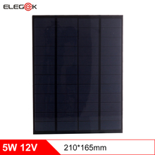 лучшая цена ELEGEEK 5.5W 12V 210*165mm 450mAh DIY Solar Cell Panel Polycrystalline PET + EVA Laminated Mini Solar Panel for Solar System