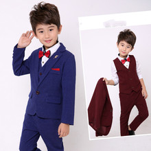 цена Suit For Boy 3pcs(Coat+Vest+Pants) Boys Suits For Weddings Kids Blazer Suit For Boy Costume Enfant Garcon Mariage Garcon 3-10Y онлайн в 2017 году