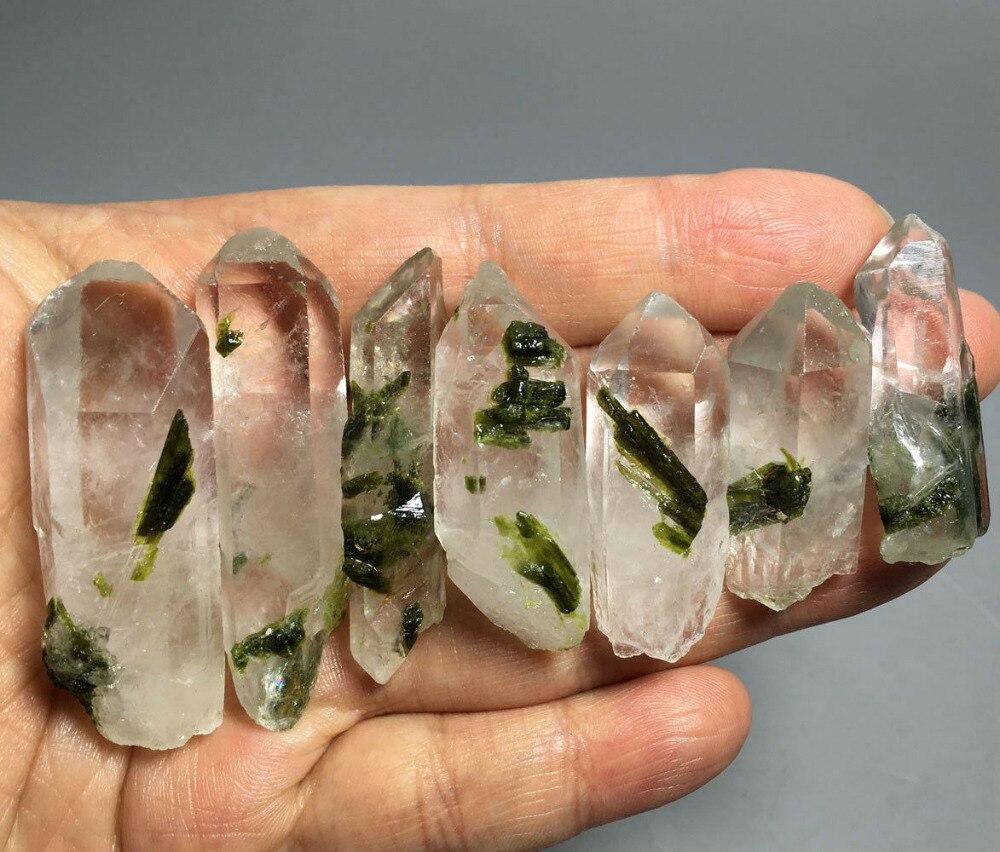 94g 7 pièces Naturel Epidote VERT Cristal et Cristal PONIT Pierre Brute Spécimen de Roche