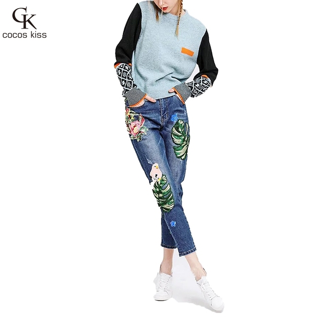 US $30 86 |2017 new spring women's Leaf embroidery Patch pencil jeans with  hole and beading-in Jeans from Women's Clothing on Aliexpress com | Alibaba