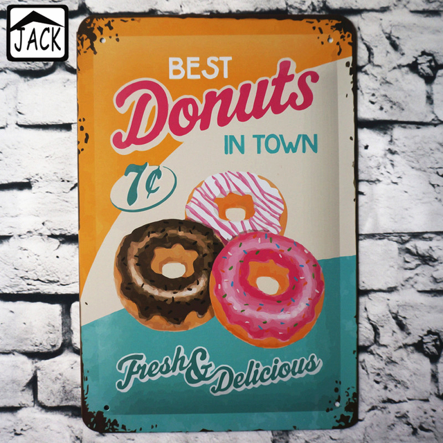 BEST DONUTS IN TOWN 20x30cm Vintage Tin Sign Bar pub home Kitchen ...