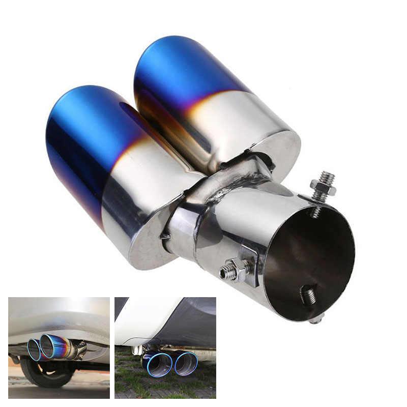 ブルーデュアル排気管ステンレス鋼ゾーストパイプテールマフラーヒント喉実用的な人気のアクセサリーブランド新