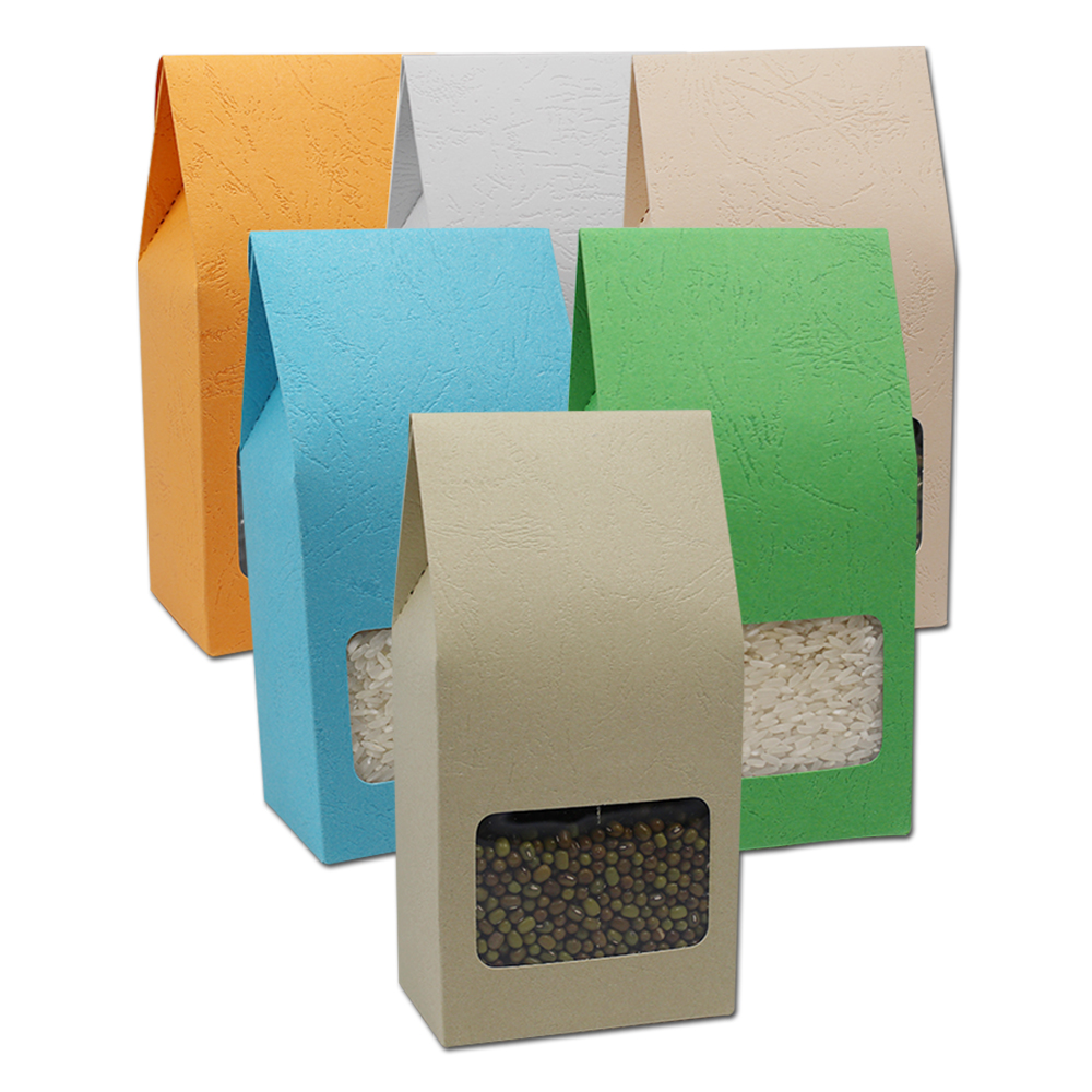 150Pcs 8*15.5+5cm Colored Kraft Paper Cardboard Gift Box Candy Snack Packaging Embossed With Window Folding Carton Wedding Party