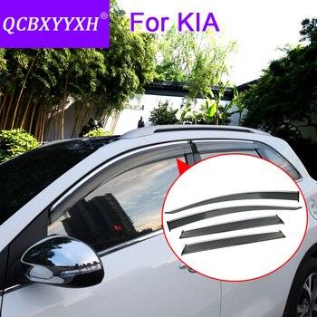 QCBXYYXH Car Styling 4pcs/lot Window Visors For KIA K2 K3 K5 SportageR KX5 KX3 Cerato RIO Forte Sun Rain Shield Stickers Covers