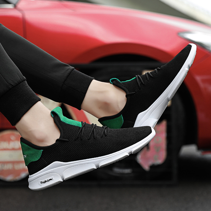 Zapatillas Mesh Ocasionales El Negro 18 verde Zapatos Marea Pedal Hombre Ligeros Estudiante Air De Los Respirables Un blanco Hombres Tejido Para xzw4qn0Zw