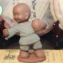 Чайная фигурка для набора Кунг Фу Ча Мальчик с винным бочонком(зелёная одежда