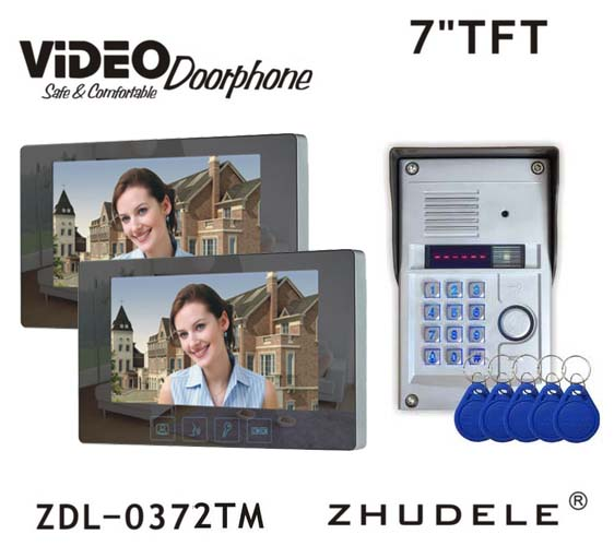 ZHUDELE Home Security Wired Touch 7 inch Color Home Video Door Phone Intercom System2 Monitors + 1RFID Code Camera IN STOCK