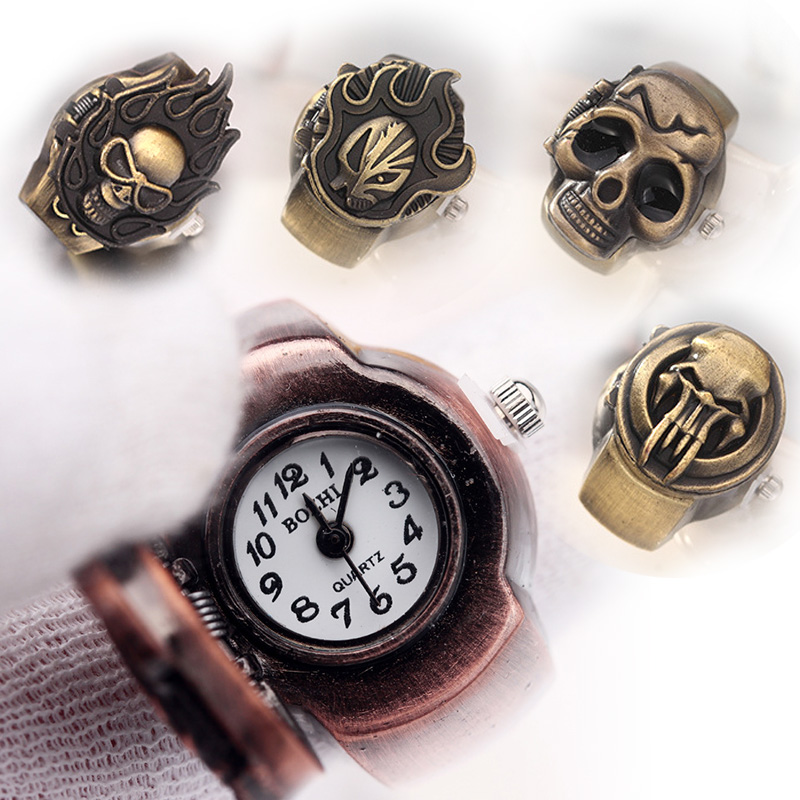 1pc Bronze Flip Up Skull Cover Finger Ring Watch Men Stretchy ...